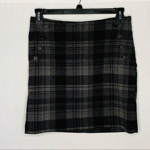 GAP Black Plaid Mini Skirt Sz 6